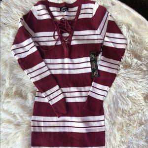 Special one stripe body con sweater dress